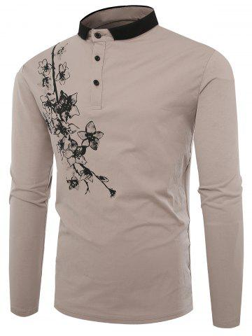New Buttons Polo Florals Print T-shirt - L APRICOT Mobile
