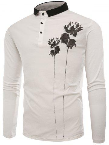 Affordable Lotus Print Buttons Polo T-shirt - 2XL WHITE Mobile