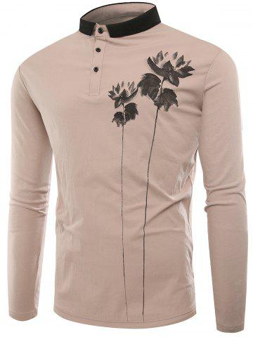 Best Lotus Print Buttons Polo T-shirt APRICOT XL