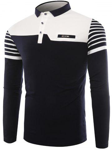 New Buttons Color Block Stripe Polo T-shirt