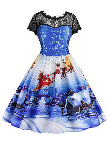 Store Lace Panel Christmas Print Vintage Dress BLUE S