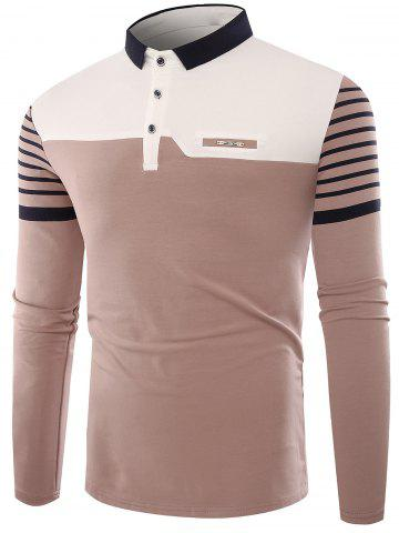 Outfits Buttons Color Block Stripe Polo T-shirt APRICOT 2XL