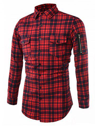 Chic Tartan Longline Cargo Shirt RED 2XL