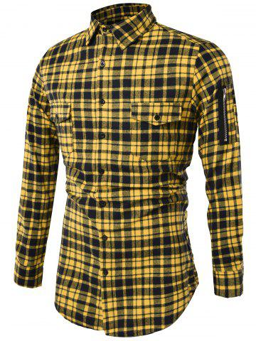 Shop Tartan Longline Cargo Shirt YELLOW XL