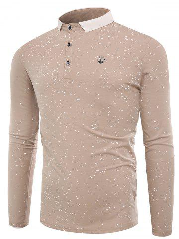 New Splatter Paint Print Long Sleeve Polo T-shirt - XL APRICOT Mobile