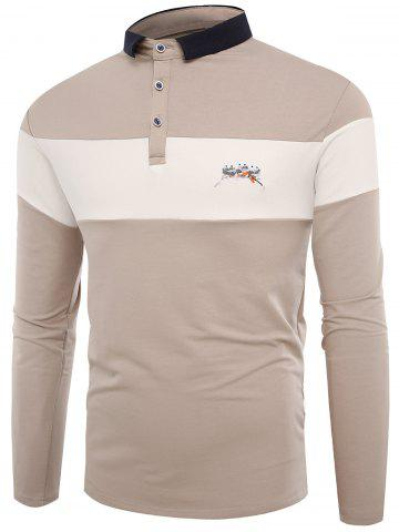 Fashion Buttons Color Block Embroidered Polo T-shirt - 2XL APRICOT Mobile