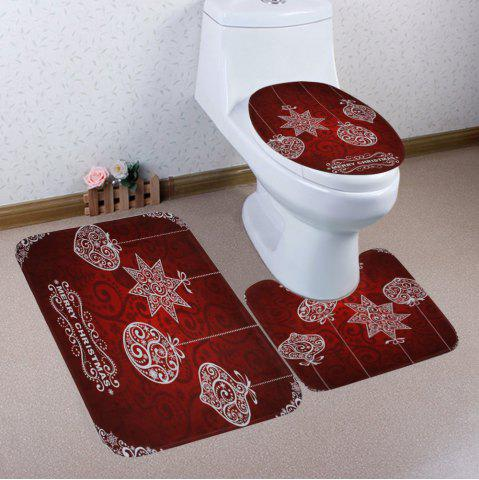 Online Merry Christmas Ball Pattern 3 Pcs Bath Mat Toilet Mat - DEEP RED  Mobile