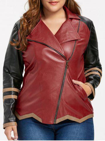 Cheap Skew Zipper Plus Size Faux Leather Jacket