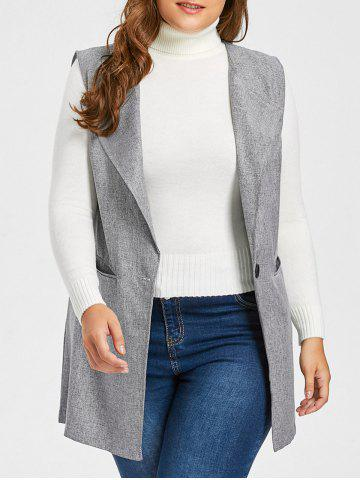 Chic Plus Size Pocket One Button Waistcoat - 5XL GRAY Mobile