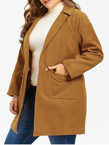 Hot Wool Blend One Button Plus Size Coat - 4XL EARTHY Mobile