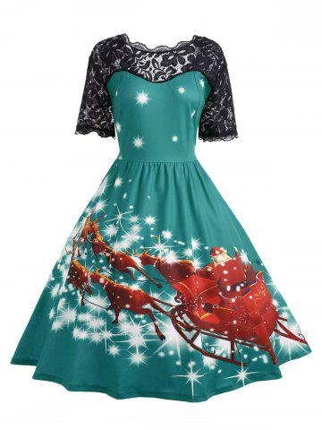 Outfit Plus Size Lace Panel Midi Father Christmas Party Dress - 5XL GREEN Mobile