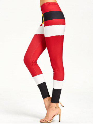 Discount Color Lump Tight Christmas Leggings RED M