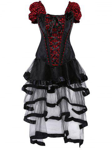 Hot Checked Lace Up Gothic Corset Top with Sheer Skirt - S RED WITH BLACK Mobile