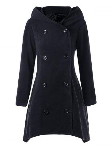 Hot Asymmetric Double Breasted Hooded Coat BLACK L