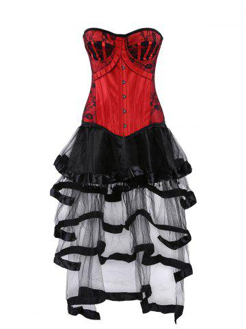 Cheap Lace Up Vintage Corset with Flounce Long Skirt