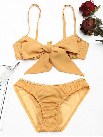 Cheap Cut Out Bow Tied Bra Set - L GINGER Mobile