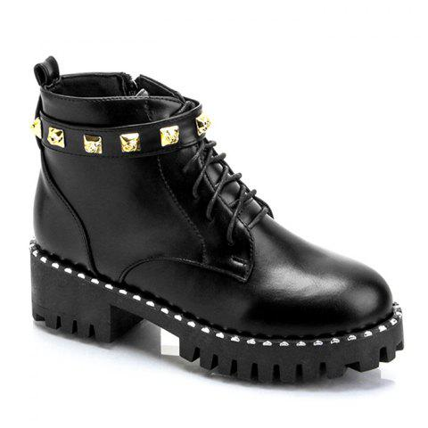 Outfits PU Leather Rivets Ankle Boots - 36/6 BLACK Mobile
