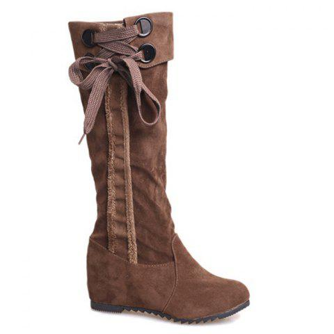 Outfit Flat Heel Lace Up Mid Calf Boots - 35/5.5 KHAKI Mobile