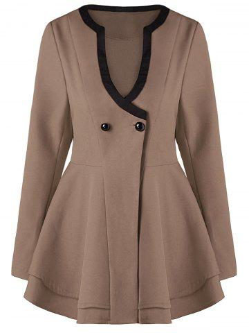Latest Button Fit and Flare Coat - M KHAKI Mobile