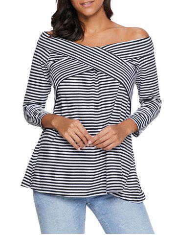 Online Striped Off The Shoulder Tee - S STRIPE Mobile