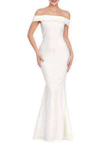 Chic Off The Shoulder Back Slit Prom Dress WHITE M