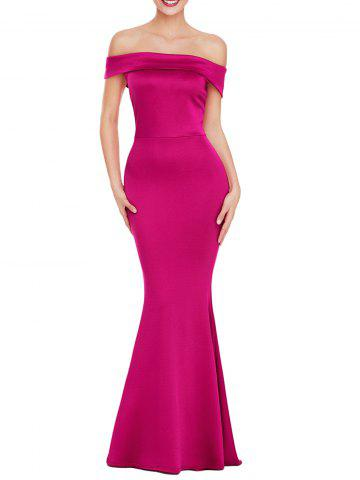 Trendy Off The Shoulder Back Slit Prom Dress ROSE RED L
