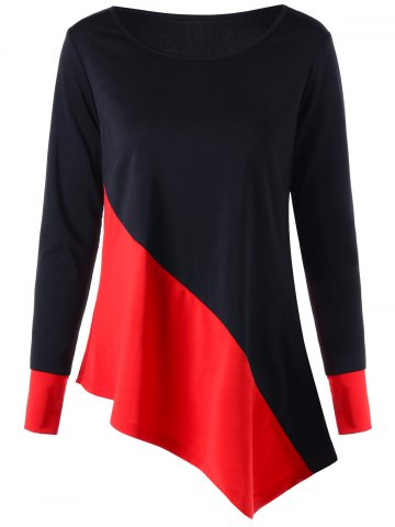 Discount Color Block Long Sleeve Asymmetric Top RED WITH BLACK M