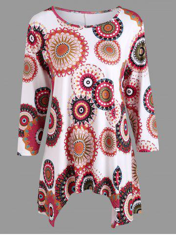 Fancy Bohemian Print Casual Asymmetric Blouse - S COLORMIX Mobile