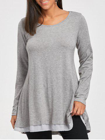 Unique Scoop Neck Chiffon Trimmed Tunic Top - S GRAY Mobile