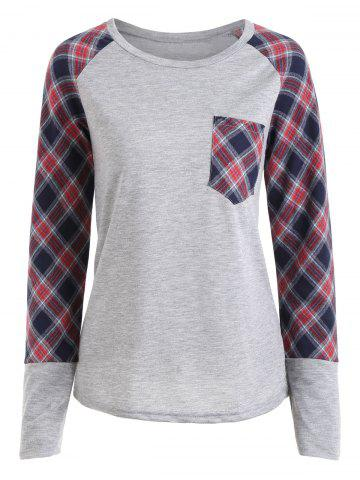 Outfits Pocket Plaid Raglan Sleeve Top