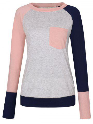 Unique Pocket Color Block Raglan Sleeve T-shirt - S PINK Mobile