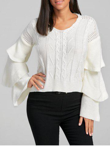 Latest Cable Knit Ruffle Flare Sleeve Sweater WHITE ONE SIZE