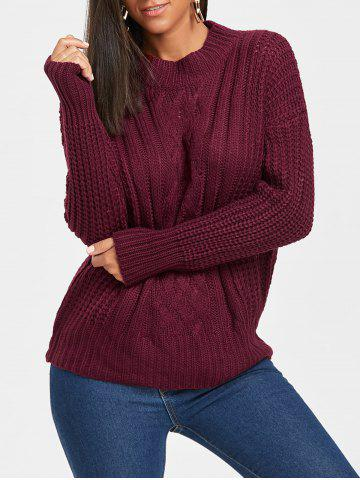 Discount Mock Neck Cable Knit Sweater CLARET ONE SIZE