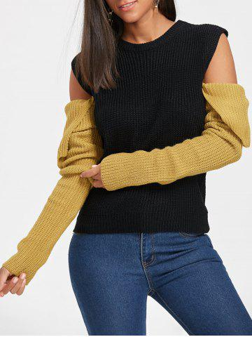 Discount Crew Neck Color Block Cold Shoulder Sweater