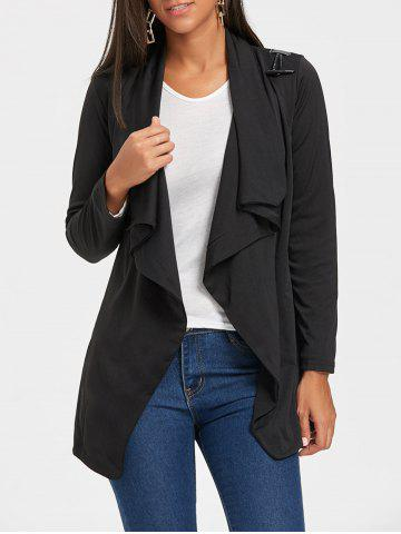 Cheap Long Sleeve Tunic Draped Cardigan BLACK L