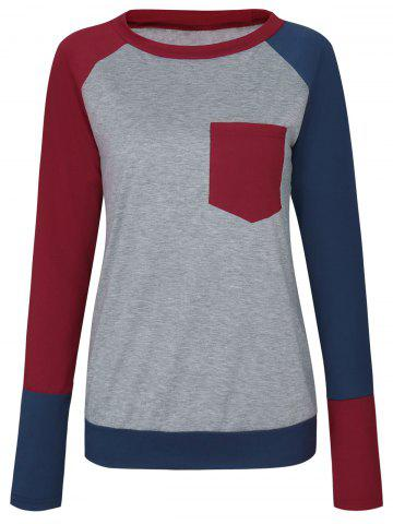 Buy Pocket Color Block Raglan Sleeve T-shirt - XL WINE RED Mobile