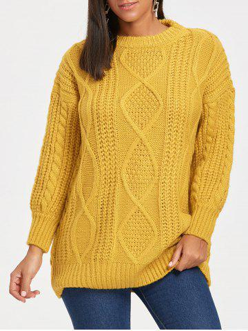 Discount Open Front Puff Sleeve Long Cable Knit Sweater GINGER ONE SIZE