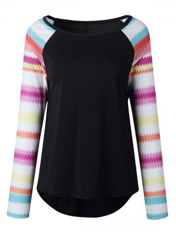 Best Casual Print Raglan Sleeve Top - S BLACK Mobile