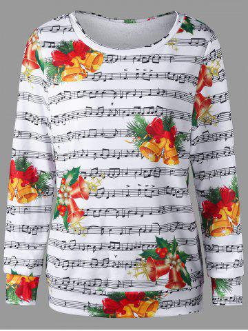 Fashion Christmas Bell and Music Score Print Sweatshirt COLORMIX 2XL