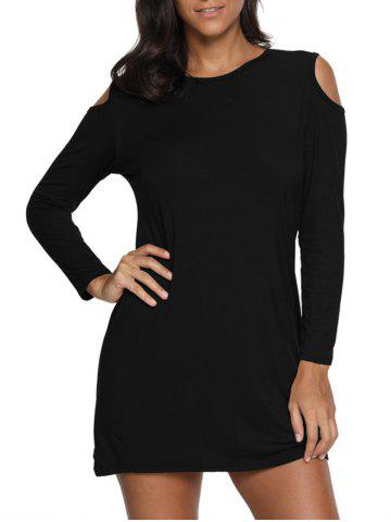 Online Cold Shoulder Mini Tunic Dress - XL BLACK Mobile