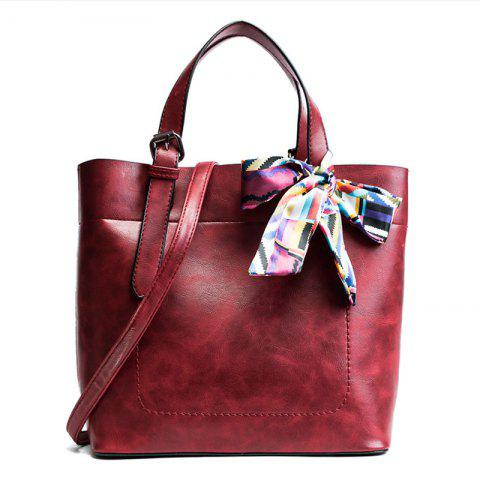 Unique Scarf  PU Leather Bow Tote Bag RED