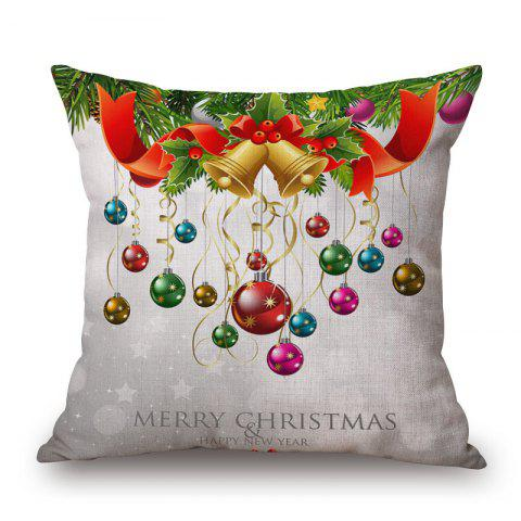 Discount Christmas Baubles Print Decorative Linen Sofa Pillowcase COLORMIX 45*45CM
