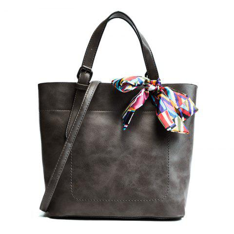 Affordable Scarf  PU Leather Bow Tote Bag - GRAY  Mobile