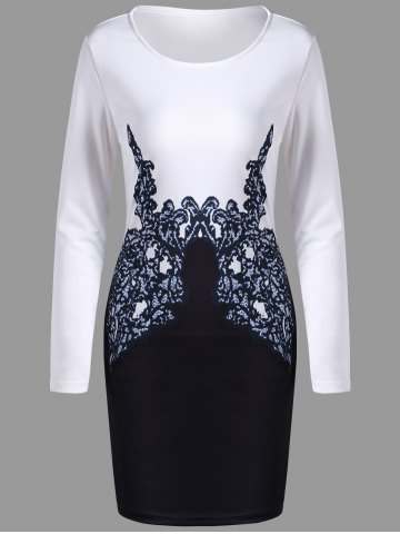 New Long Sleeve Printed Bodycon Dress - M WHITE Mobile