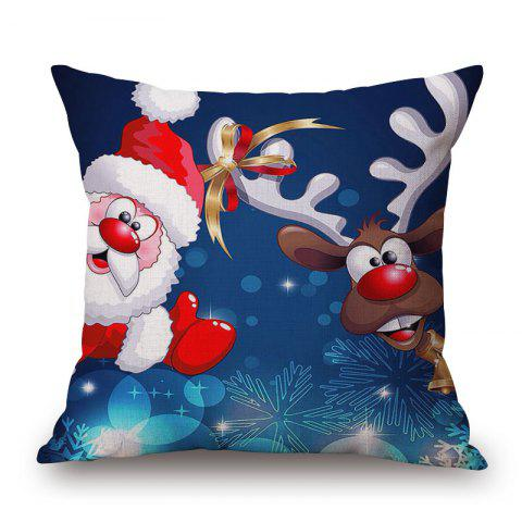 Store Christmas Santa Deer Print Decorative Linen Sofa Pillowcase - 45*45CM COLORMIX Mobile