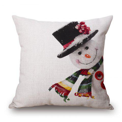 Online Christmas Snowman Print Decorative Linen Sofa Pillowcase - 45*45CM COLORMIX Mobile
