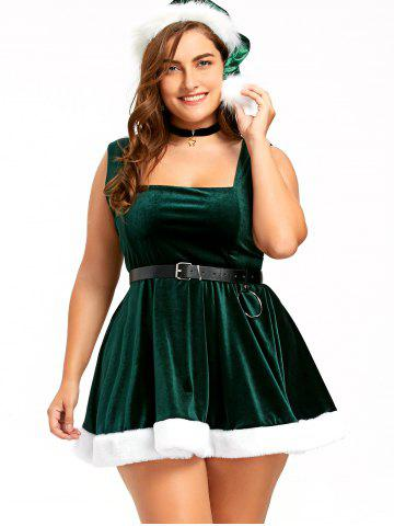 Fashion Christmas Sleeveless Lace Up Skater Dress with Hat - XL DEEP GREEN Mobile