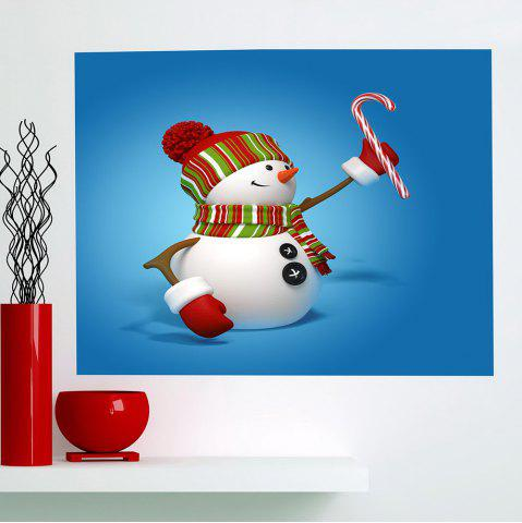Unique Christmas Snowmans Pattern Multifunction Wall Sticker - 1PC:24*24 INCH( NO FRAME ) BLUE Mobile