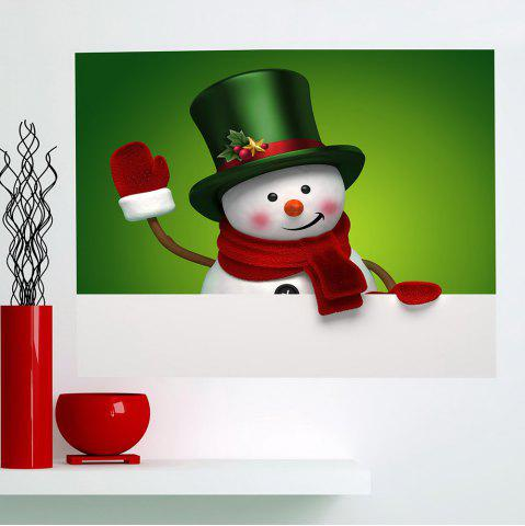 Trendy Multifunction Christmas Snowman Patterned Wall Sticker GREEN AND WHITE 1PC:24*35 INCH( NO FRAME )