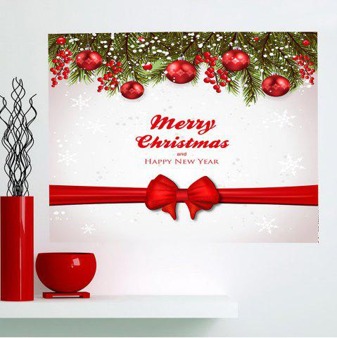Fancy Christmas Balls Bowknot Belt Print Multifunction Wall Art Sticker RED + WHITE 1PC:24*24 INCH( NO FRAME )